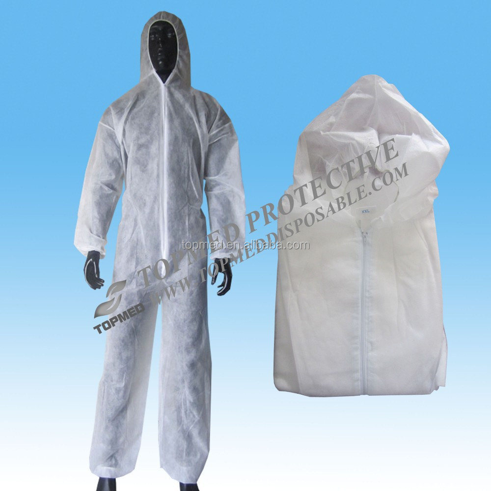 Disposable White/black 20-80gsm nonwoven hazmat suits spray painting protective coverall Ebola coverall