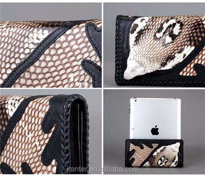 New collection luxury handmade snakeskin women wallet,long style wallet for ladies