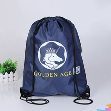 Fashion Customized Printed Unicorn Drawstring Bag Navy Blue Drawstring Backpack Bag