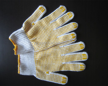 raw white working gloves with PVC dot