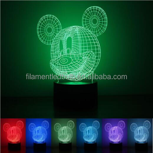led gifts custom 3d illusion led night bedside lamp with touch sensor FS - 3566