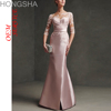 Lace Long Frock Satin Long Frock Design With Fish Cut HSD1560