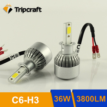2017 Promotion H3 36w 3800lm hot Car COB C6 led headlight with H1/H3/H4/H7/H8/H9/H11/H10/5202/9005/9006/H13/9004/9007/880/881