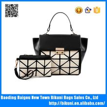 Modern fashion color matching high quality pu 2 pcs in 1 set bags women purse long strap women handbag with tote