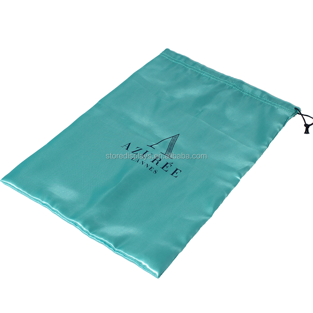 Custom Drawstring Satin Shoe Bag With Logo Printed, Satin Jewelry Gift Bag Pouch