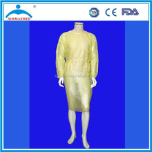 Dental Medical Latex Free Disposable Isolation Gowns Knit Cuff YELLOW Non Woven Fluid Resistant