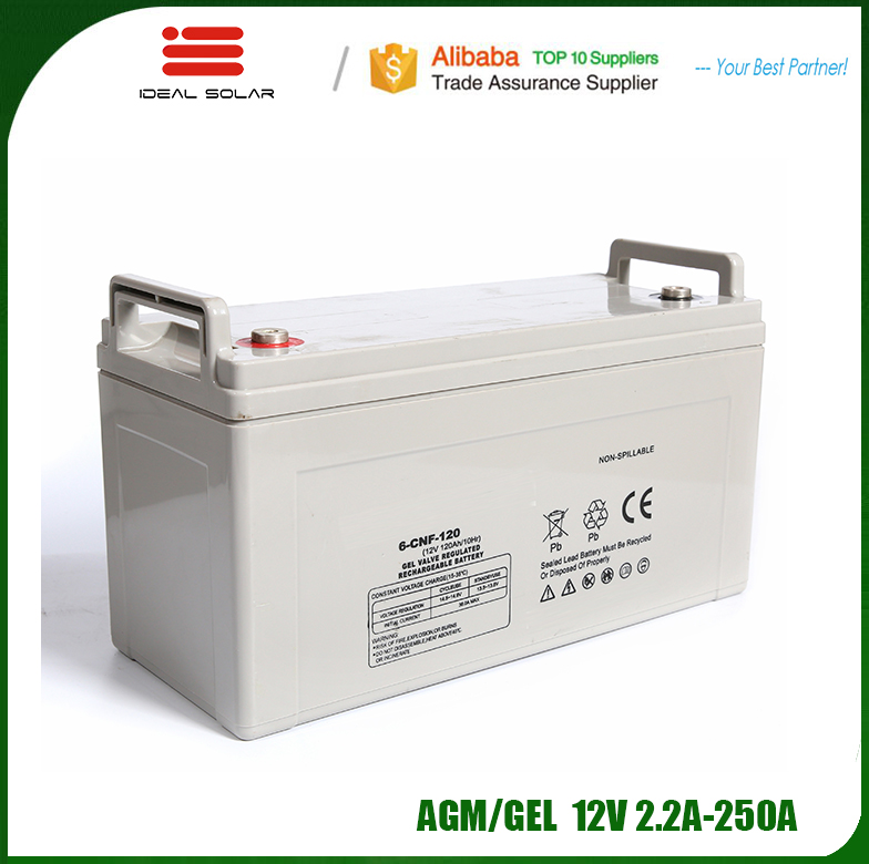 Ideal New Energy AGM GEL Lead acid deep cycle solar system storage 12v 200ah 250ah battery for inverter