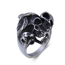 Stainless Steel Biker Punk Gothic Ring Anarchy Death Skeleton Skull Ring