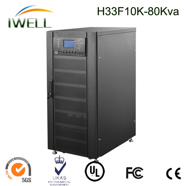 China made 380v/380v high frequency three phase 80kva UPS without battery
