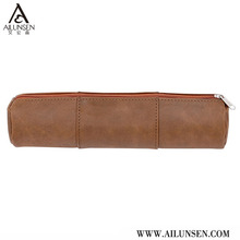 Fashion blank brown real leather pencil case