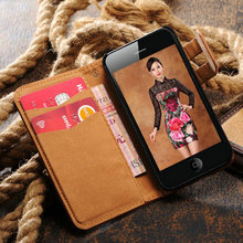 credit card slot case for iphone 4, leather flip case for iphone 4 retro style newest