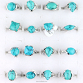Fashion jewelry ring silver plating women turquoise gemstone rings for sale