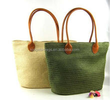 Blank PP straw tote bag with PU leather handle wholesale