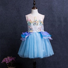 2018 New Design Fashion Unicorn Children Dresses for Little Girls princess sizes 2XS to 6XL birthday party kids dresses