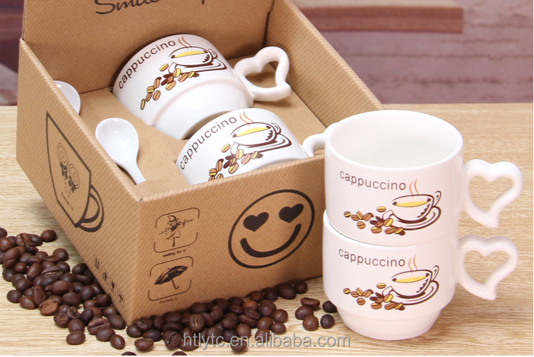 Promotional gift OEM logo couple ceramic cappuccino coffee mugs with heart shape handle