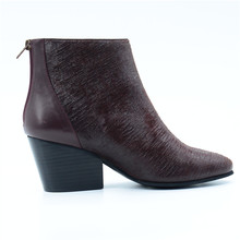C147 Ladies elegant High quality boots for women shoes leather upper fashion winter chunky heel boots 2017