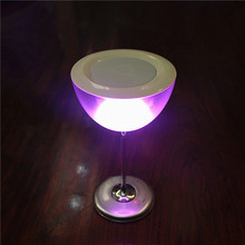Rechargable wine glass shaped multi color LED light table lamp with bluetooth speaker