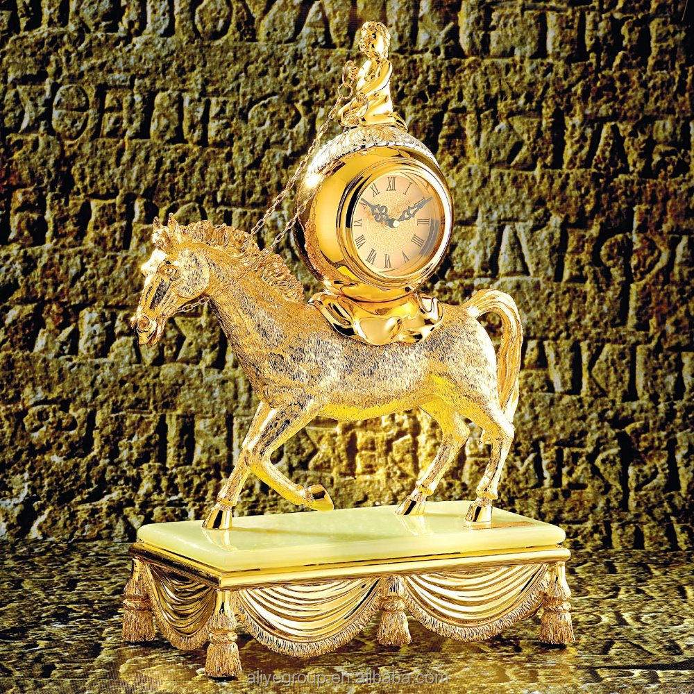 Eco-friendly high end table clocks with golden horse shape KA-037
