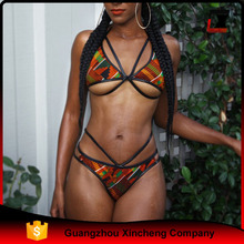 Sexy Swimwear Women Bikini Set Triangle Bandage Gather Split Padded Swimsuit Bathing Beachwear Wholesale