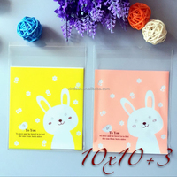 Hot Sale Printing Baking Package Bag Bopp Rabbit Adhesive Bag Cake Chocolate Candy Food Packing Pouch 10*10+3cm