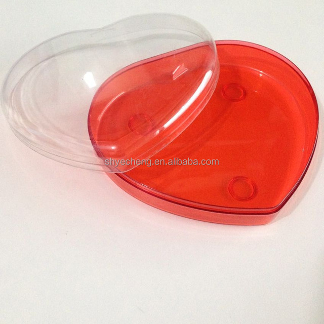 eco friendly clear cheap custom heart shape plastic box