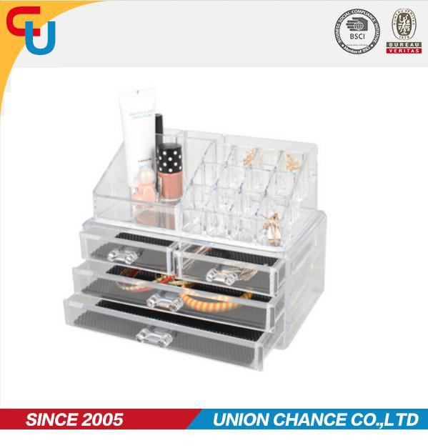 Transparent PS 3-layer acrylic storage box for makeup