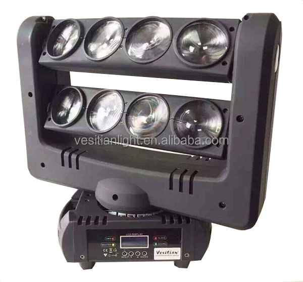 running topics 8 pcs rgbw 4 in1(white) led disco wash moving head Double row 8 eyes 10W leds beam spider