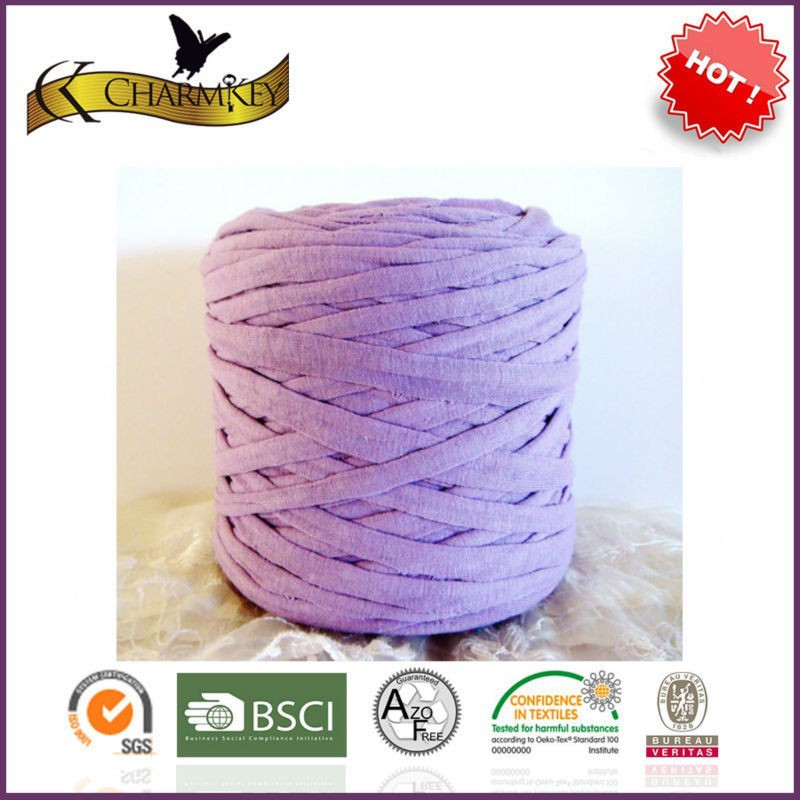T shirt yarn 100 polyester spaghetti yarn for Needle crafts