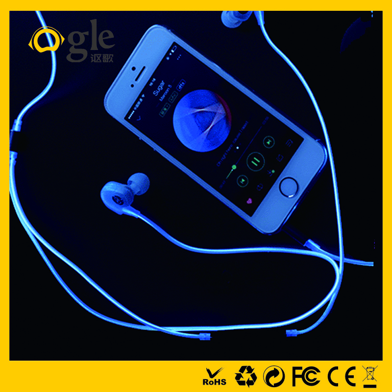Best quality LED lighting earphones with mic glowing earphone headset wholesale