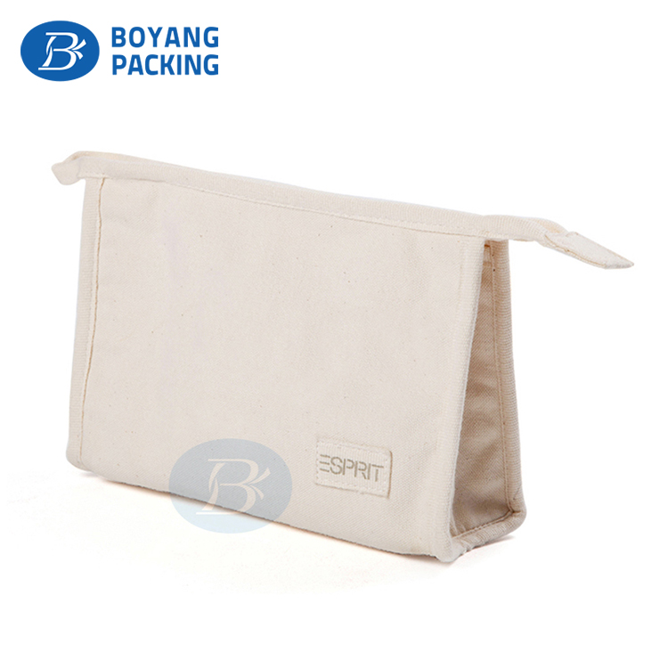 Custom Recyclable Cosmetic storage Bag canvas pouch with zipper