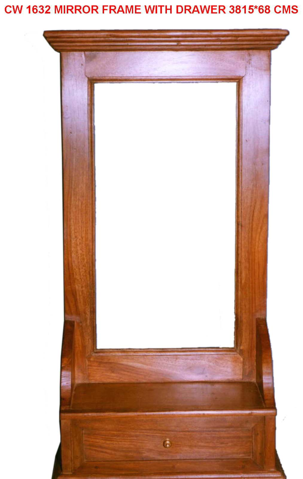 Marco de espejo madera con caj n artesan a madera for Modelos de espejos con marcos de madera