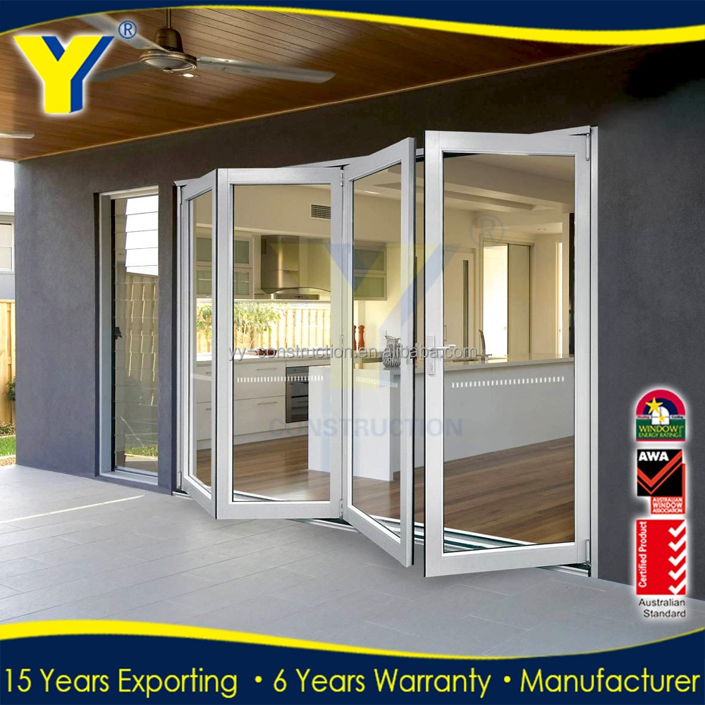 Popular UAS&Australia style exterior glass accordion folding door price