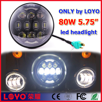"LOYO black 5-3/4"" 5.75 inch lights 80W headlight for Harley motorcycle"