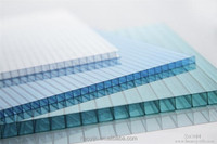 4mm 100% Virgin Grade A Pc Resin 50 Micron Uv Coating clear Polycarbonate Twin Wall Hollow Sheets Cheap Price Roofing Panels