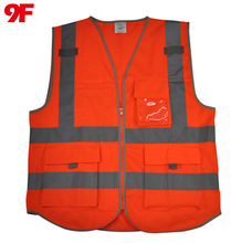 High visibility security reflective safety vest with pockets