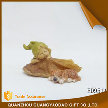Miniature leaves baby angel with a hat art and craft souvenir items