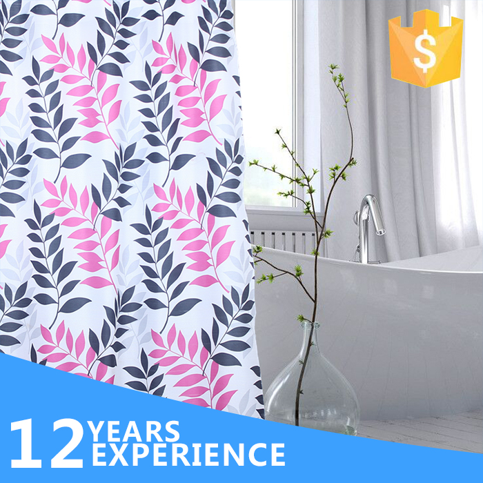 High quality concise printed style color changing shower curtain