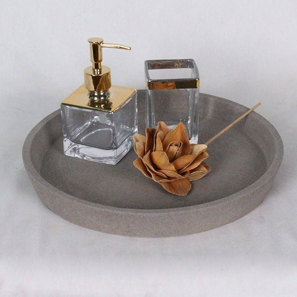 "Grey Marble Lazy Susan Rotating Food Presentation Platter Serving Tray, 10"" Round Ball Bearings"