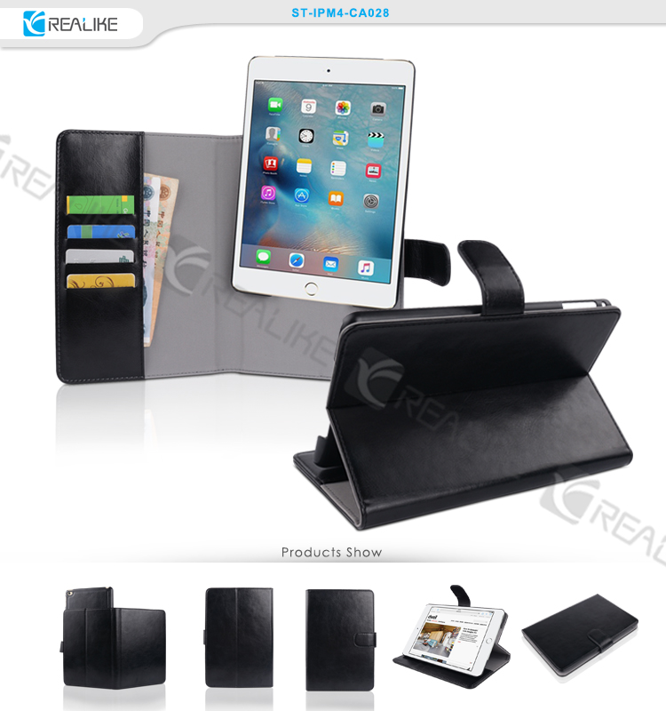 for iPad tablet mini 4 leather case, standing tablet case wallet