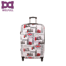 Printed 3 PCS ABS PC Luggage Set 4 spinner Trolley Luggage Set