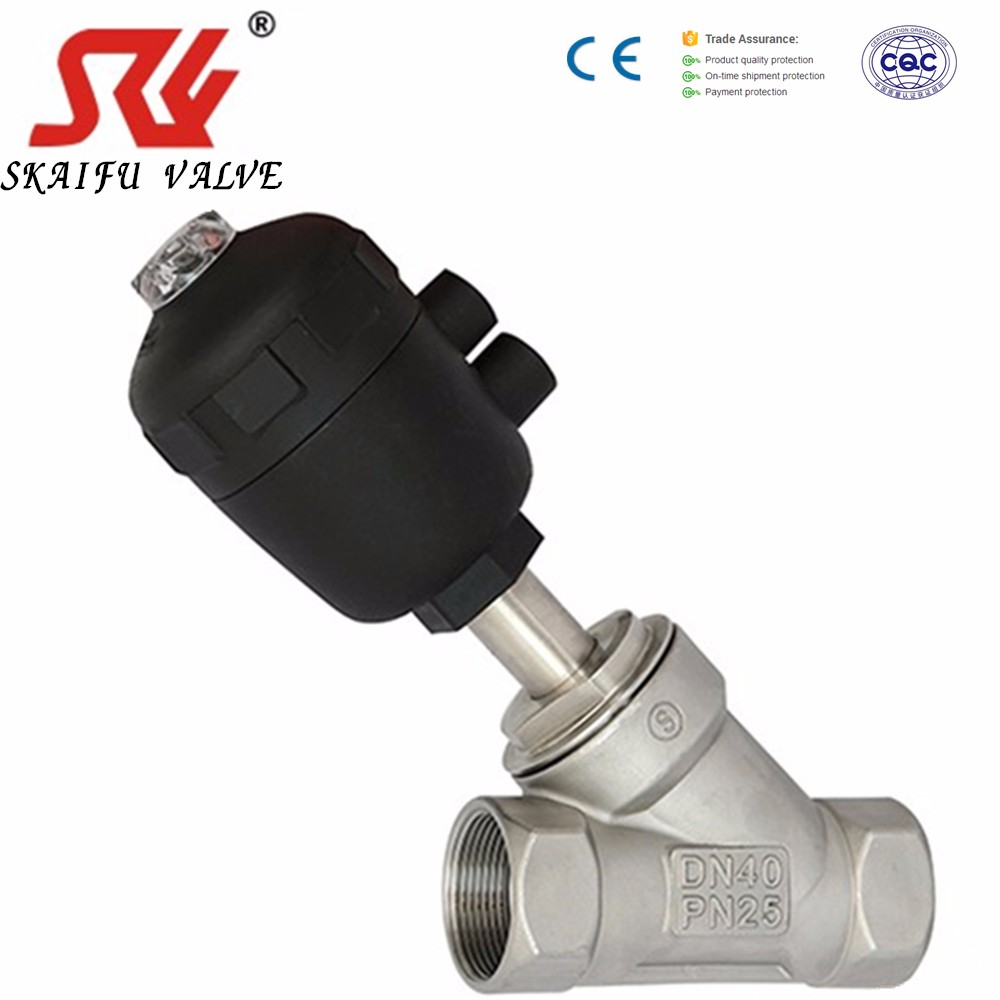 "Stainless Steel 3/4"" Bsp Angle Seat Valve,Pneumatic Operated N/Closed 316 S/S,Piston Valve"