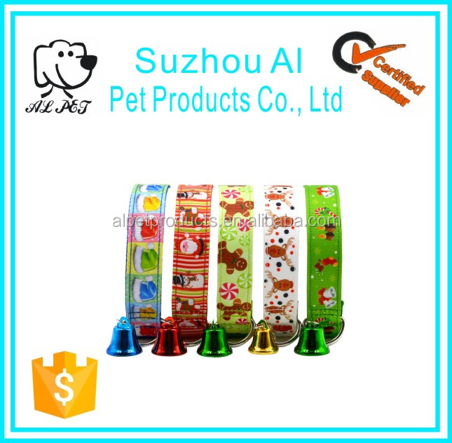 New Style Christmas Pet Collar Adjustable Nylon Dog Collar with Bell