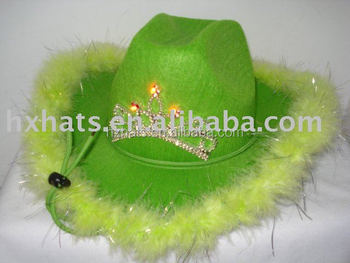 2015 new style of carnival hats in green with LEDs