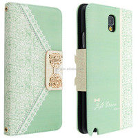Mint Green Bow Lace Fashion Girl Woman Fresh Sweet Cute Flip Wallet Purse Leather Case For Samsung Galaxy Note 3