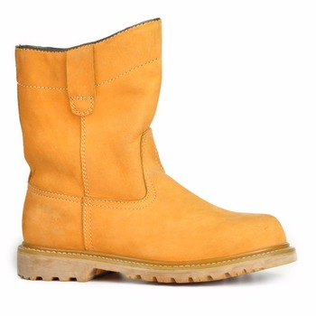 yellow color nubuck leather steel toe and plate work boots leather boots safety boots guangzhou