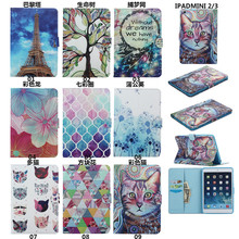 Soft PC Colorful Painted Wallet Leather Flip Cover Shockproof case for ipad