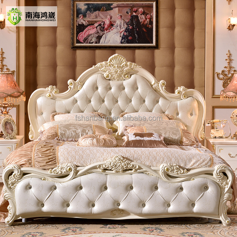 Modern Luxury Royal French Baroque Rococo Style King Queen Size Cream White Buttoned Diamond Leather Headboard Upholstery <strong>Bed</strong>