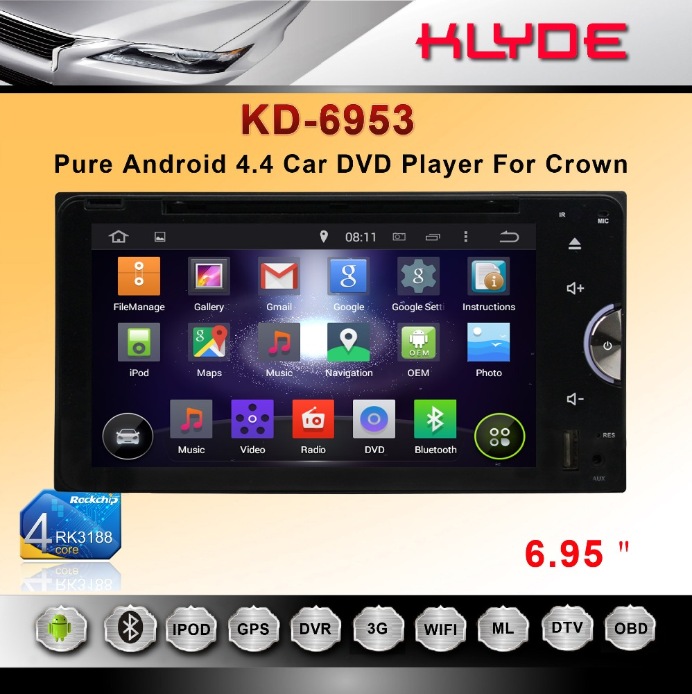 double 2 din bluth tooth wifi remote control usbsd mp4 android dvd gps navigator car radio for Crown with full touch