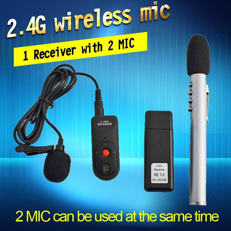 OXLasers 2.4G Bluetooth USB Wireless Microphone 1 Receiver with 2 MIC (1 pen mic and 1 clip mic) for Conference and teachers