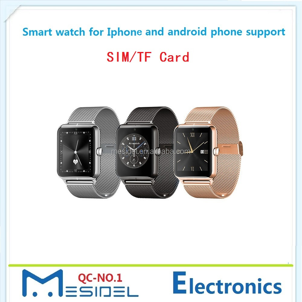 2017 Factory Wholesale Z50 Touch Screen Bluetooth Smartwatch SIM TF Card Sport Smart Watch Android IOS
